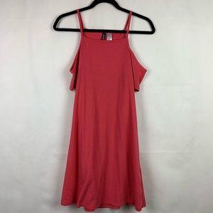H&M Divided Ribbed Cold Shoulder Dress 10 Pink